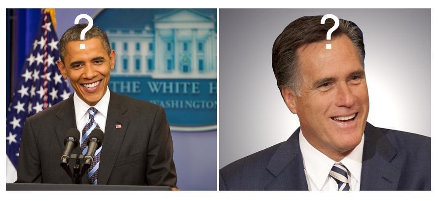 Barack Obama & Mitt Romney Photo - Question Mark