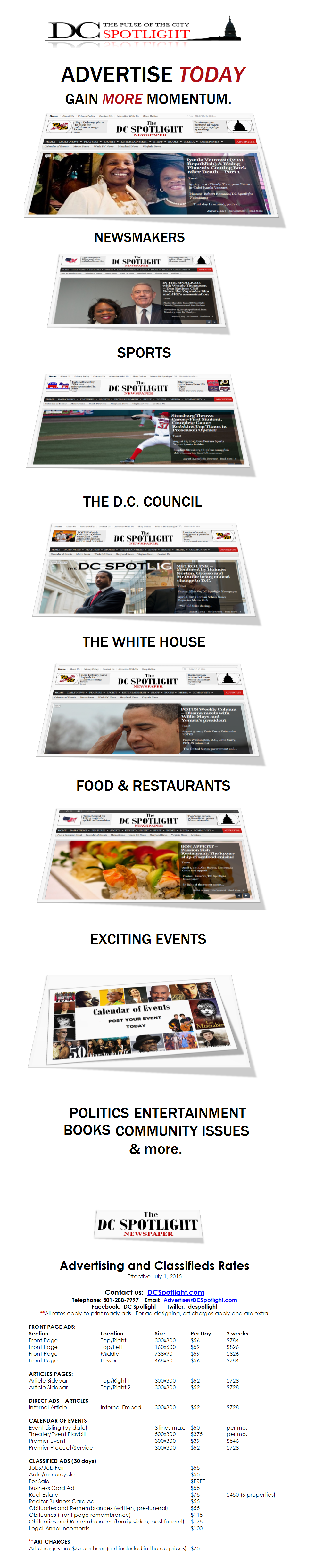 DC SPOTLIGHT - ADVERTISING - NEW RATES-COVERS - JULY 2015