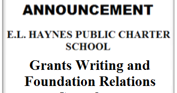 AD ART - E.L.HAYNES444 - 07-17-2017 - Grants Writing and Foundation Relations Consultant